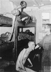 <p>Emaciated survivors in barracks in the Mauthausen camp. Austria, May 1945, after liberation.</p>