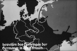 "<p>Propaganda slide for a Hitler Youth educational presentation entitled ""German Achievements in the East."" Circa 1934–1937.</p>"