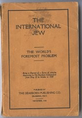 "<p><em>The International Jew</em>, based largely on the <a href=""/narrative/9302""><em>Protocols of the Elders of Zion</em></a>, sold more than 500,000 copies and was translated into at least 16 languages. Published in Dearborn, Michigan, United States, 1920.</p>"