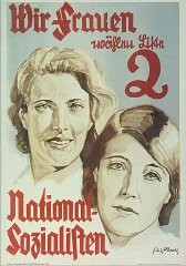 """<p>Poster: """"We Women Are Voting Slate 2 National Socialists."""" German women were an important voting bloc. The Nazis made a concerted effort to appeal to women, as exemplified by this 1932 election poster. The Nazis had to repackage their messages to de-emphasize military aims. Hitler consciously modeled some <a href=""""/narrative/81"""">Nazi propaganda</a> appeals to German women on speeches delivered by Benito Mussolini in Fascist Italy, who also had to calm the fears of Italian war widows after World War I. Nazi propagandists attempted to win over newly-enfranchised women voters by portraying the party as the defender of traditional German womanhood, the family, and Christianity. Bundesarchiv Koblenz (Plak 002-042-064)</p>"""