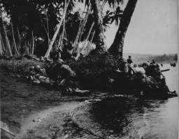 Landing operations on Rendova Island, Solomon Islands, June 30, 1943. American soldiers were huddled under tree branches during an attack at the break of day.
