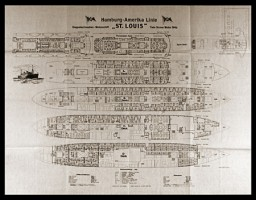 "<p>Plan of the two-propeller passenger liner the ""St. Louis,"" showing cabins and room numbers. In 1939, this German ocean liner carried almost 1,000 Jewish refugees seeking temporary refuge in Cuba. It was forced to return to Europe after Cuba and then the United States refused to allow the refugees entry.</p>"