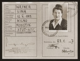 """<p>This identification card was issued to Sima Wajner, a Jewish resident of the <a href=""""/narrative/53506/en"""">Heidenheim</a> displaced persons camp. The card identifies her as a former concentration camp inmate who had been imprisoned in the <a href=""""/narrative/3933/en"""">Stuffhof camp</a> during the Holocaust. Card dated January 23, 1947.</p>"""