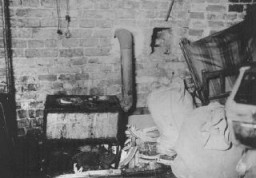 <p>An underground bunker, built by Jews in Warsaw in preparation for anti-Nazi resistance. This photograph shows cooking facilities in a bunker. Jews hid in bunkers while the Germans systematically destroyed the ghetto during the uprising. Warsaw, Poland, April 19–May 16, 1943.</p>