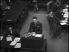 <p>The Medical Case was one of 12 war crimes trials held before an American tribunal as part of the Subsequent Nuremberg Proceedings. The trial dealt with doctors and nurses who had participated in the killing of physically and mentally impaired Germans and who had performed medical experiments on people imprisoned in concentration camps. Here, chief prosecutor Brigadier General Telford Taylor reads into evidence a July 1942 report detailing Nazi high-altitude experiments and outlines the prosecution's goals for the trial.</p>