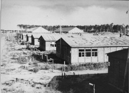 """<p>A view of barracks in the <a href=""""/narrative/3933"""">Stutthof concentration camp</a>. This photograph was taken after the <a href=""""/narrative/2317"""">liberation</a> of the camp. Stutthof, near Danzig, 1945.</p>"""