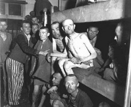 "<p>Survivors of the Ebensee subcamp of the Mauthausen concentration camp. Ebensee, <a href=""/narrative/5815/en"">Austria</a>, May 8, 1945.</p>"