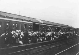 "<p>Deportation of Jews from Bielefeld in <a href=""/narrative/4967/en"">Germany</a> to <a href=""/narrative/6400/en"">Riga</a> in <a href=""/narrative/5729/en"">Latvia</a>. Bielefeld, Germany, December 13, 1941.</p>"