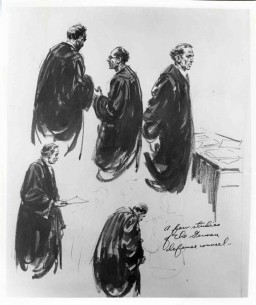 "<p>Courtroom sketch drawn during the International Military Tribunal by American artist Edward Vebell. The drawing's title is ""A few studies of the German defense counsel."" 1945.</p>"