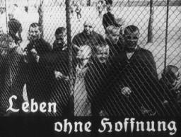 "<p>This image originates from a film produced by the <a href=""/narrative/11806"">Reich Propaganda Ministry</a>. It shows patients in an unidentified asylum. Their existence is described as ""life without hope."" The Nazis sought, through propaganda, to develop public sympathy for the <a href=""/narrative/4032"">Euthanasia Program</a>.</p>"