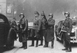 "<p>Juergen Stroop (third from left), SS commander who crushed the <a href=""/narrative/3636/en"">Warsaw ghetto uprising</a>. Warsaw, Poland, between April 19 and May 16, 1943.</p>"