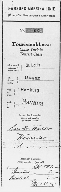 "<p>Boarding pass for Dr. Walter Weissler for a voyage on the <a href=""/narrative/4719/en""><em>St. Louis</em></a> from Hamburg to Havana. When Cuban authorities refused the passengers entry, Weissler returned to France, where he survived in hiding. He died in Paris in 1996. Hamburg, Germany. Date of pass, May 13, 1939.</p>"