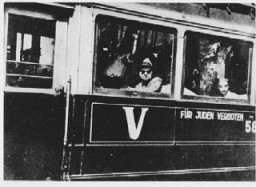 "<p>Streetcar in Belgrade bearing the sign: ""Forbidden to Jews."" Belgrade, <a href=""/narrative/6153/en"">Yugoslavia</a>, 1941-1942</p>"