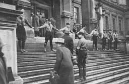 <p>Nazis block Jews from entering the University of Vienna. Austria, 1938.</p>