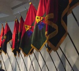 <p>Flags of US Army liberating divisions on display at the United States Holocaust Memorial Museum in Washington D.C.</p>