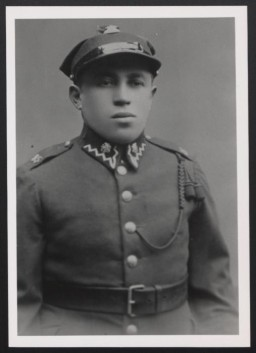 """<p>Shlomo Trabska was one of the many Jewish <a href=""""/narrative/2765"""">victims</a> who were shot by the SS and Lithuanian <a href=""""/narrative/6437"""">collaborators</a> at the Ponary killing site outside of <a href=""""/narrative/3169"""">Vilna</a>. This photograph was taken in the late 1930s, when Shlomo was serving in the Polish army.</p>"""