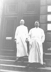 "<p>Dr. Joseph Jaksy (right) and a colleague. Dr. Jaksy, a Lutheran and a urologist in Bratislava, saved at least 25 Jews from deportations. He was later recognized as ""Righteous Among the Nations."" Bratislava, Czechoslovakia, prewar.</p>"