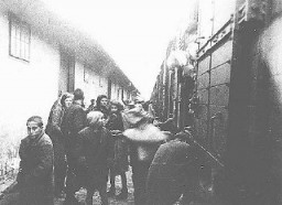 "<p>Macedonian Jews prepare to board a deportation train in Skopje. Skopje, <a href=""/narrative/6153/en"">Yugoslavia</a>, March 1943.</p>