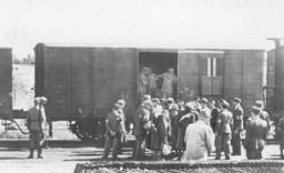 <p>Le personnel SS mène la garde tandis que la police du ghetto de Lodz fait monter des Juifs à bord d'un train de déportation pour Chelmno ou Auschwitz. Lodz, Pologne, entre mai et août 1944.</p>
