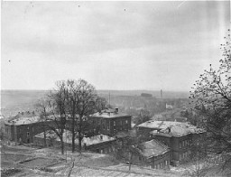 View of the Hadamar Institute. This photograph was taken by an American military photographer soon after the liberation. [LCID: 05456]
