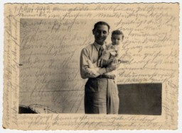 <p>Photograph showing Kurt, Helene Reik's son, holding his baby Margarida, in Rio de Janeiro in 1940.</p>