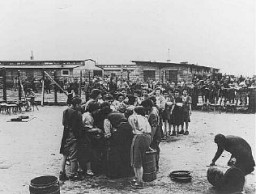 "<p>After <a href=""/narrative/2317/en"">liberation</a> by US troops, former prisoners wait in line for soup at the <a href=""/narrative/7864/en"">Gusen</a> camp, a subcamp of Mauthausen concentration camp. Gusen, Austria, May 12, 1945.</p>"