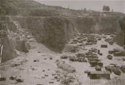 A view of the Wiener Graben quarry at the Mauthausen concentration camp, where prisoners were subjected to forced labor. [LCID: 89973]