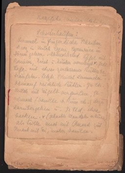 First page of Eva Oswalt's cookbook she created while interned at Ravensbrück