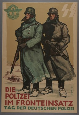 """<p><a href=""""/narrative/81"""">Propaganda</a> poster depicting two Germans in the field during <a href=""""/narrative/2388"""">World War II</a>. After the war began in 1939, Police Battalions were deployed alongside the German military. This poster was designed by SS-Hauptsturmführer Felix Albrecht in 1941.</p> <p></p>"""