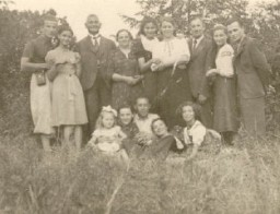"<p>Photo taken a few weeks before World War II began. <a href=""/narrative/10466"">Regina</a> is at the right of the front row. Kunow, Poland, July 28, 1939.</p>"