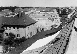 "<p>Former quarters of the German army converted into displaced persons housing. <a href=""/narrative/9359/en"">Bergen-Belsen</a>, Germany, May 1945.</p>"