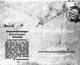 "<p>Official postcard for use by prisoners of the Esterwegen <a href=""/narrative/4656"">concentration camp</a>. Esterwegen, near Hamburg, was one of the early camps established by the SS. The text at the left side gives instructions and restrictions to inmates about what can be mailed and received. Germany, August 14, 1935.</p>"