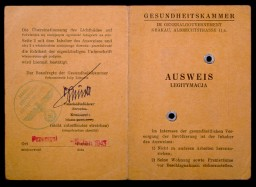 "<p>In July 1942, the German health department located in Krakow (Krakau), occupied Poland, issued this identity card to Max Diamant. This view shows the front and back covers of the card. The interior pages identify Diamant as a dental assistant in Przemysl, Poland, and show his signature and photograph mounted under the stamped word ""Jew.""</p>"