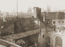 "<p>View of the old synagogue in Aachen after its destruction on <em><a href=""/narrative/4063/en"">Kristallnacht</a></em>. Aachen, Germany, photo taken ca. November 10, 1938.</p>"