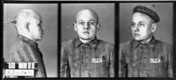 <p>一名被控犯有同性恋罪囚犯的身份照片,他不久前抵达奥斯威辛集中营。拍摄地点:波兰奥斯威辛;拍摄时间:1940 年到 1945 年间。</p>
