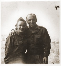 "<p>Portrait of siblings Saba and Julek Fiszman after their reunion in <a href=""/narrative/53689/en"">Santa Maria di Bagni</a>, Italy, March 1946. Members of the Fiszman family had been separated over the course of the war. While at the <a href=""/narrative/9339/en"">Foehrenwald</a> displaced persons (DP) camp, Saba learned from a Jewish Brigade Officer that her brother was in Italy. She traveled to Santa Maria di Bagni, where there was a <a href=""/narrative/5232/en"">DP camp</a>, to meet him.</p>"
