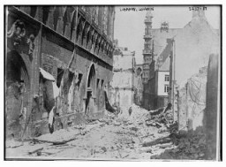 "<p>Ruins of the library in Louvain, destroyed during <a href=""/narrative/28"">World War I</a>. Louvain, Belgium, ca. 1914–1915</p>"