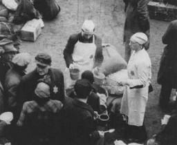 <p>وصل اليهود الهولنديون مؤخرًا إلى الحي اليهودي  بتيريزينشتات. تشيكوسلوفاكيا، فبراير 1944.</p>