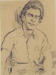 1943 portrait of Edgar Krasa drawn by Leo Haas in Theresienstadt