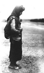 <p>An Armenian refugee, wearing a scarf and a pack on her back. Ottoman Empire, 1918-20.</p>