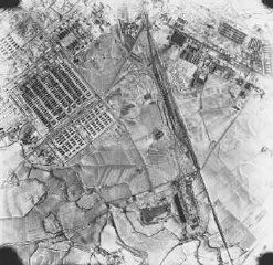 <p>Aerial photograph of Auschwitz II (Birkenau). Poland, December 21, 1944.</p>