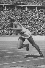 "<p>During the <a href=""/narrative/7139"">1936 Olympics</a> in Berlin, US runner Jesse Owens begins the 200-meter race in which he established a new Olympic record of 20.7 seconds. Berlin, Germany, August 2, 1936.</p>"