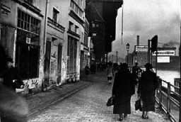 "<p>Antisemitic graffiti on Jewish-owned businesses on a <a href=""/narrative/5616/en"">Danzig</a> street in 1935. The local Nazi Party had dominated the Danzig Senate since 1933. Danzig, 1935.</p>"