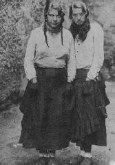 """<p>Portrait of two Romani (Gypsy) women. Both were deported to <a href=""""/narrative/3673"""">Auschwitz</a> in 1941. Photograph taken in Czechoslovakia, 1937.</p>"""