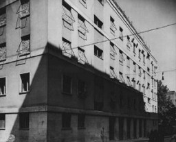 "<p>A building in <a href=""/narrative/5802/en"">Rome</a>, Italy, used as <a href=""/narrative/11779/en"">Gestapo</a> (secret state police) headquarters during the German occupation. This photograph was taken after US forces liberated the city. Rome, Italy, June 1944.</p>"