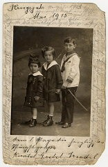 """<p>Photograph taken in May 1915 of Helene Reik's children.</p> <p>After her deportation to the <a href=""""/narrative/5386/en"""">Theresienstadt</a> ghetto in Czechoslovakia, Helene yearned to record what was happening to her. This photograph was sent to Helene, who used it as paper for her diary in Theresienstadt. Helene's makeshift diary offers wistful memories of her husband and parents who died before the war, loving thoughts of her family who had left Europe in 1939, and a firsthand account of the illness and hospitalization that ultimately led to her death.</p> <p>Because resources were scarce in the Theresienstadt ghetto, Helene recorded her thoughts, recollections, and diary entries in the margins and on the backs of family pictures that she had brought with her, as well as postcards and letters she received while in the ghetto.</p>"""