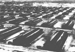 <p>Barracks in the Auschwitz-Birkenau camp. This photograph was taken after the liberation of the camp. Auschwitz-Birkenau, Poland, after January 29, 1945.</p>