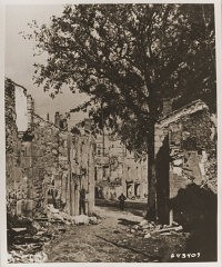 "<p>Ruins in <a href=""/narrative/11405/en"">Oradour-sur-Glane</a>, France. The town was destroyed by the SS on June 10, 1944. Photograph taken in September 1944.</p>"