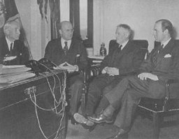 <p>Third meeting of the board of directors of the War Refugee Board. From the left are Secretary of State Cordell Hull, Treasury Secretary Henry Morgenthau, Secretary of War Henry Stimson, and Executive Director John Pehle. Washington, DC, United States, March 21, 1944.</p>