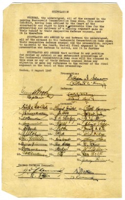 "<p>Document from the Buchenwald trial stating that both the prosecution and the defense teams agree to waive their right to make closing statements. The document is signed by the US military prosecutors (including <a href=""/narrative/9936/en"">William Denson</a>), the defense lawyers, and the defendants. Dachau, Germany, August 8, 1947.</p>"